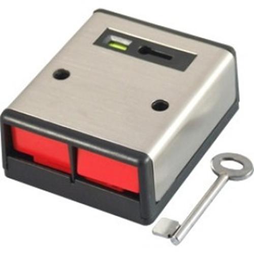 DP2 Paniikkipainike. Muovikotelo, hiljainen aktivointi ja avain resetointi. NC-kytkentä ja kansisuoja